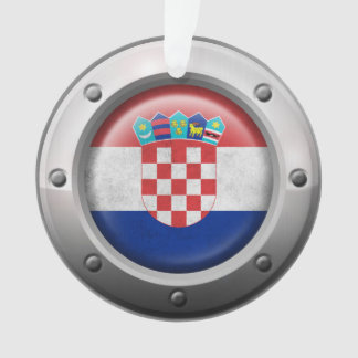 Industrial Croatian Flag with Steel Graphic