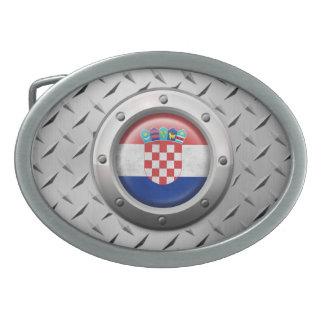 Industrial Croatian Flag with Steel Graphic Belt Buckle