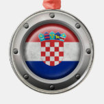 Industrial Croatian Flag with Steel Graphic Ornaments