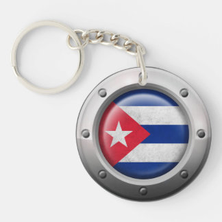 Industrial Cuban Flag with Steel Graphic Acrylic Keychain