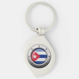 Industrial Cuban Flag with Steel Graphic Keychain