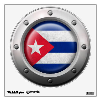 Industrial Cuban Flag with Steel Graphic Wall Decal