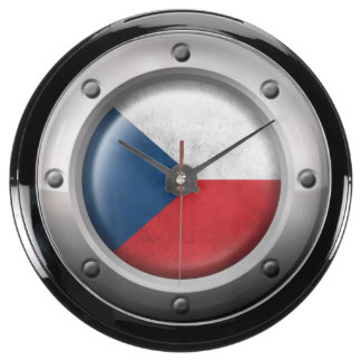 Industrial Czech Republic Flag with Steel Graphic Fish Tank Clock