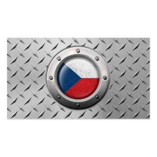 Industrial Czech Republic Flag with Steel Graphic Business Card Templates