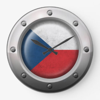 Industrial Czech Republic Flag with Steel Graphic Wall Clocks