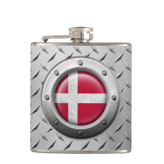 Industrial Danish Flag with Steel Graphic Hip Flask