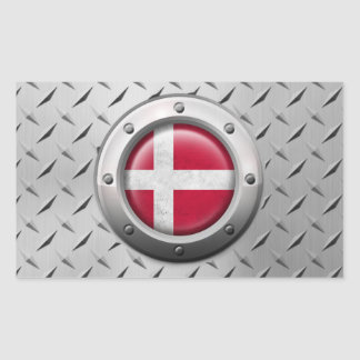 Industrial Danish Flag with Steel Graphic Rectangle Sticker