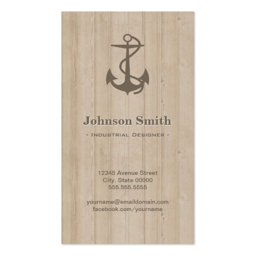 Industrial Designer - Nautical Anchor Wood Business Cards