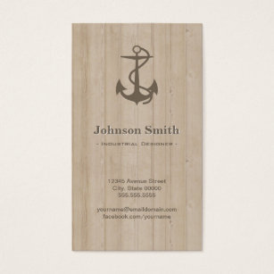 Nautical design business cards templates zazzle industrial designer nautical anchor wood business card reheart Choice Image
