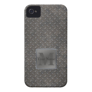Industrial Diamond Cut Metal Look in Grey & Beige iPhone 4 Cover