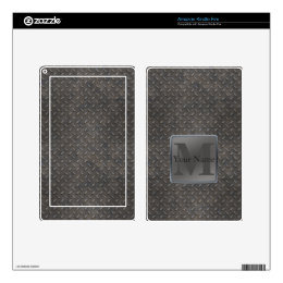 Industrial Diamond Cut Metal Look in Grey & Beige Skins For Kindle Fire