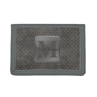 Industrial Diamond Cut Metal Look in Grey & Beige Tri-fold Wallets