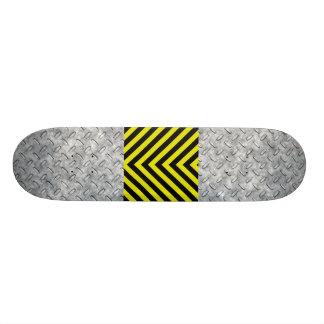 Industrial Diamond Plate Hazard Striped Skateboard