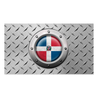 Industrial Dominican Republic Flag Steel Graphic Business Cards