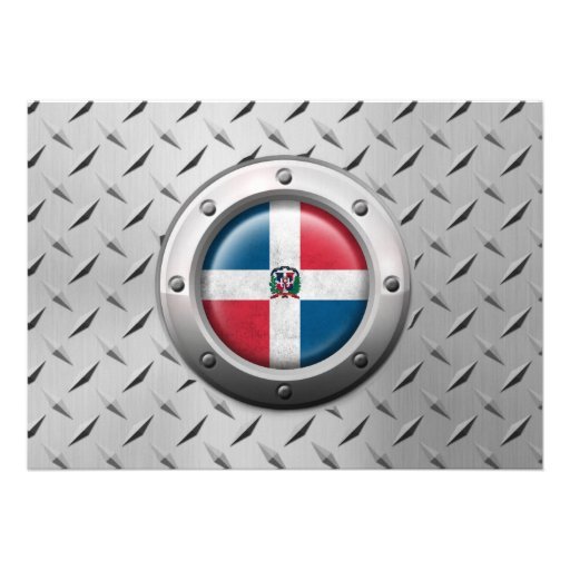 Industrial Dominican Republic Flag Steel Graphic Personalized Announcement