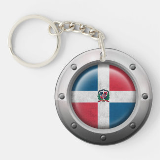 Industrial Dominican Republic Flag Steel Graphic Keychain