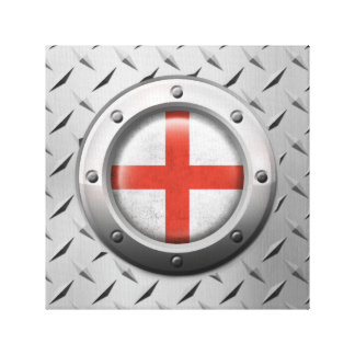 Industrial English Flag with Steel Graphic Gallery Wrap Canvas