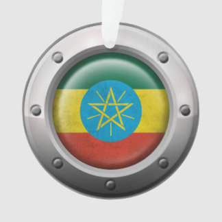Industrial Ethiopian Flag with Steel Graphic Ornament