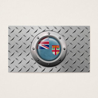 Industrial Fiji Flag with Steel Graphic Business Card