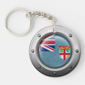 Industrial Fiji Flag with Steel Graphic Acrylic Keychains