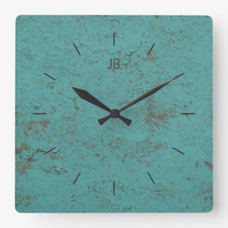 INDUSTRIAL | Flaky blue paint plus lettering Square Wall Clock