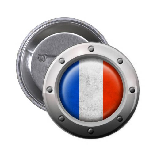 Industrial French Flag with Steel Graphic Buttons