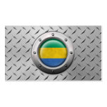 Industrial Gabon Flag with Steel Graphic Business Cards