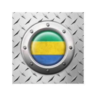 Industrial Gabon Flag with Steel Graphic Gallery Wrap Canvas