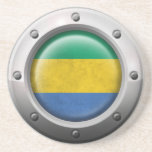 Industrial Gabon Flag with Steel Graphic Beverage Coasters