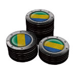 Industrial Gabon Flag with Steel Graphic Poker Chips