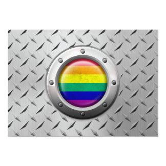 Industrial Gay Pride Rainbow Flag Steel Graphic Card