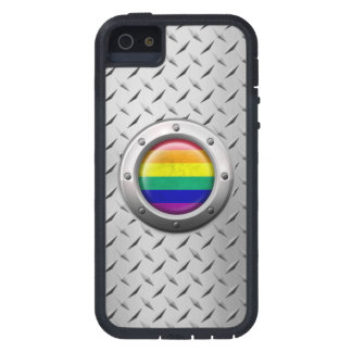 Industrial Gay Pride Rainbow Flag Steel Graphic iPhone SE/5/5s Case