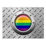 Industrial Gay Pride Rainbow Flag Steel Graphic Post Card