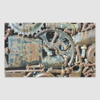 Industrial Gear Texture Rectangle Stickers