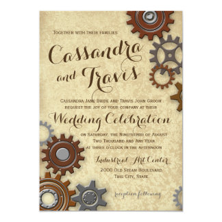 Industrial Gears Rustic Wedding 5x7 Paper Invitation Card