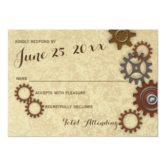 Industrial Gears Rustic Wedding Response 5x7 Paper Invitation Card