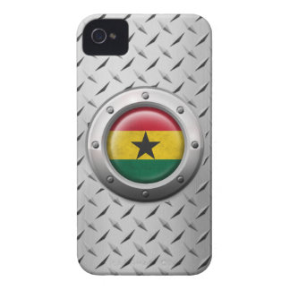 Industrial Ghana Flag with Steel Graphic iPhone 4 Case