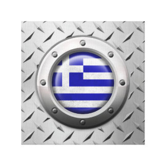 Industrial Greek Flag with Steel Graphic Canvas Prints