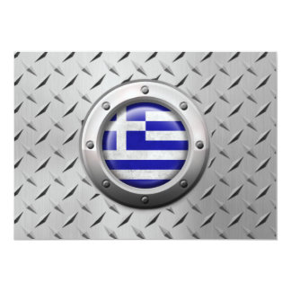 Industrial Greek Flag with Steel Graphic Personalized Invites