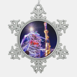 Industrial HDR photography - Steel Plant 1 Snowflake Pewter Christmas Ornament