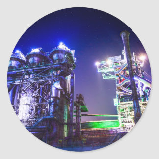 Industrial HDR photography - Steel Plant 2 Classic Round Sticker