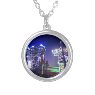 Industrial HDR photography - Steel Plant 2 Silver Plated Necklace