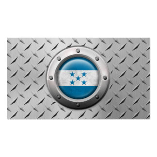 Industrial Honduras Flag with Steel Graphic Business Card Template