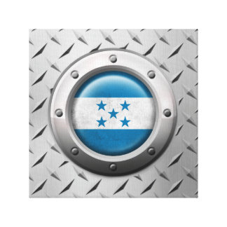 Industrial Honduras Flag with Steel Graphic Stretched Canvas Print