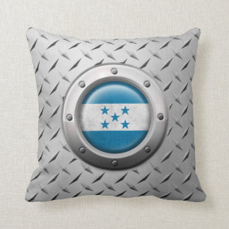 Industrial Honduras Flag with Steel Graphic Throw Pillows