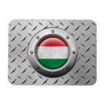 Industrial Hungarian Flag with Steel Graphic Rectangular Magnet