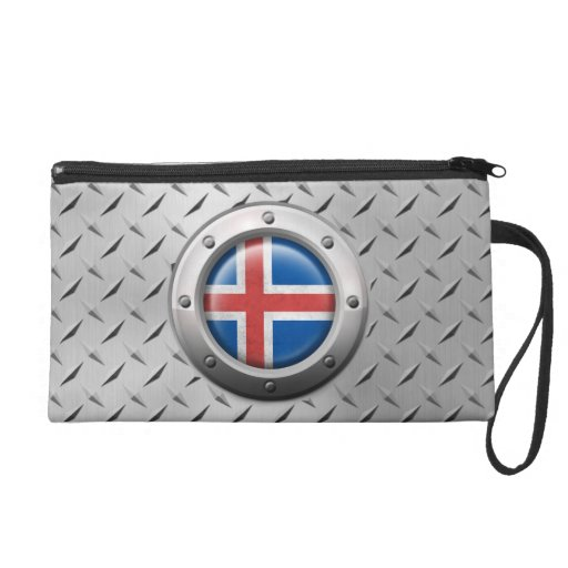 Industrial Icelandic Flag with Steel Graphic Wristlets