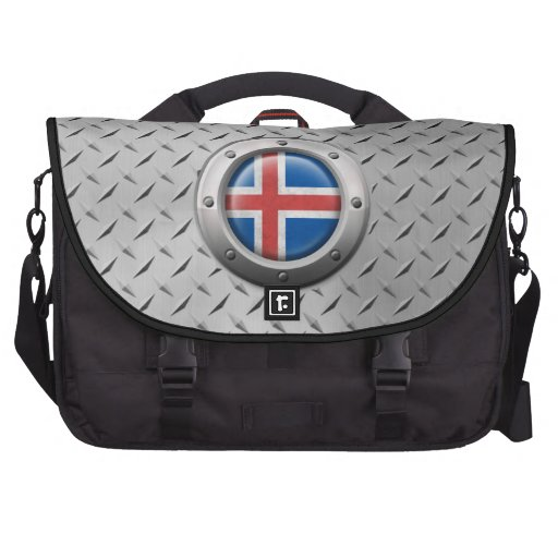 Industrial Icelandic Flag with Steel Graphic Laptop Bag