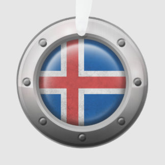 Industrial Icelandic Flag with Steel Graphic Ornament