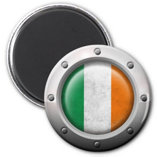 Industrial Irish Flag with Steel Graphic Refrigerator Magnet